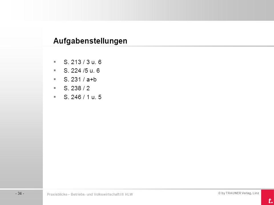© by TRAUNER Verlag, Linz - 34 - Praxisblicke – Betriebs- und Volkswirtschaft I/II HLW  S. 213 / 3 u. 6  S. 224 /5 u. 6  S. 231 / a+b  S. 238 / 2
