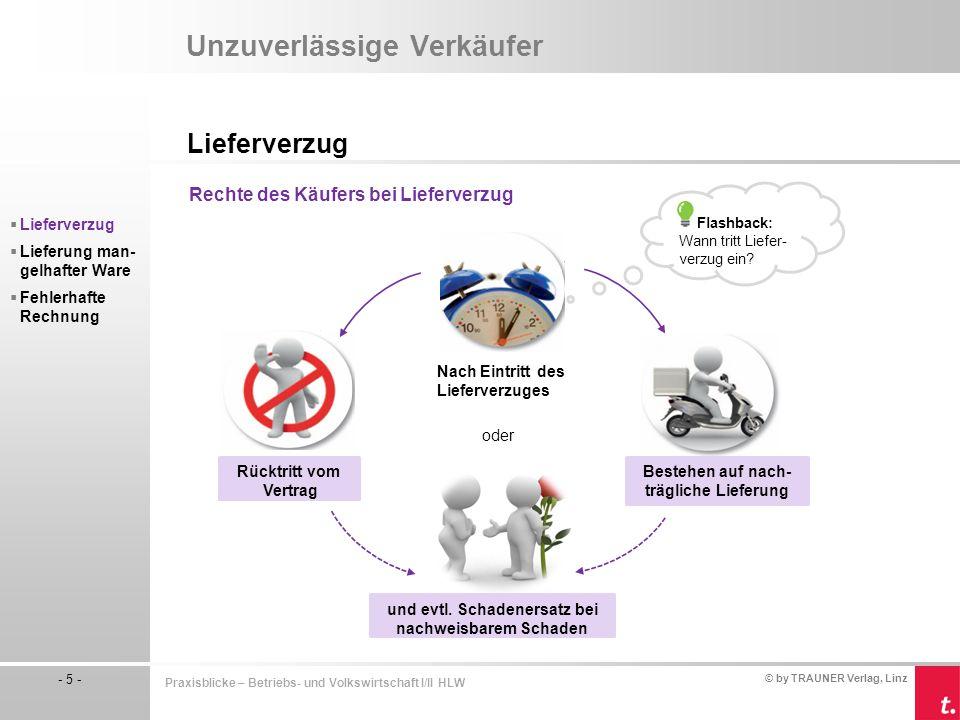© by TRAUNER Verlag, Linz - 5 - Praxisblicke – Betriebs- und Volkswirtschaft I/II HLW Unzuverlässige Verkäufer Lieferverzug  Lieferverzug  Lieferung