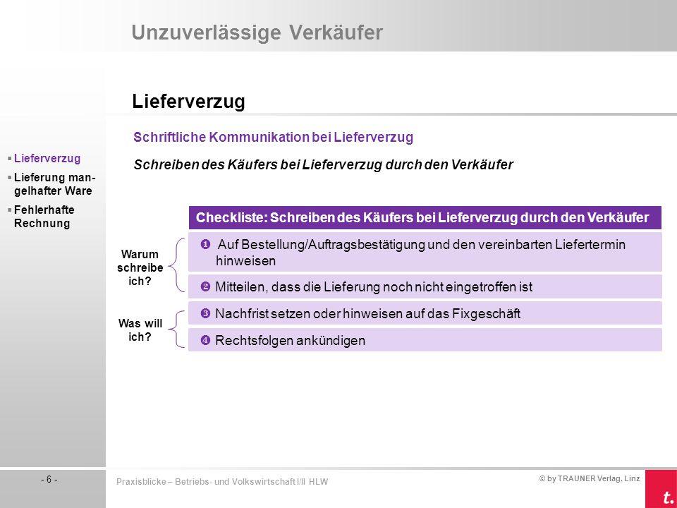 © by TRAUNER Verlag, Linz - 6 - Praxisblicke – Betriebs- und Volkswirtschaft I/II HLW Unzuverlässige Verkäufer Lieferverzug  Lieferverzug  Lieferung