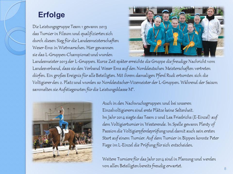 Erfolge Die Leistungsgruppe Team 1 gewann 2013 das Turnier in Filsum und qualifizierten sich durch diesen Sieg für die Landesmeisterschaften Weser-Ems