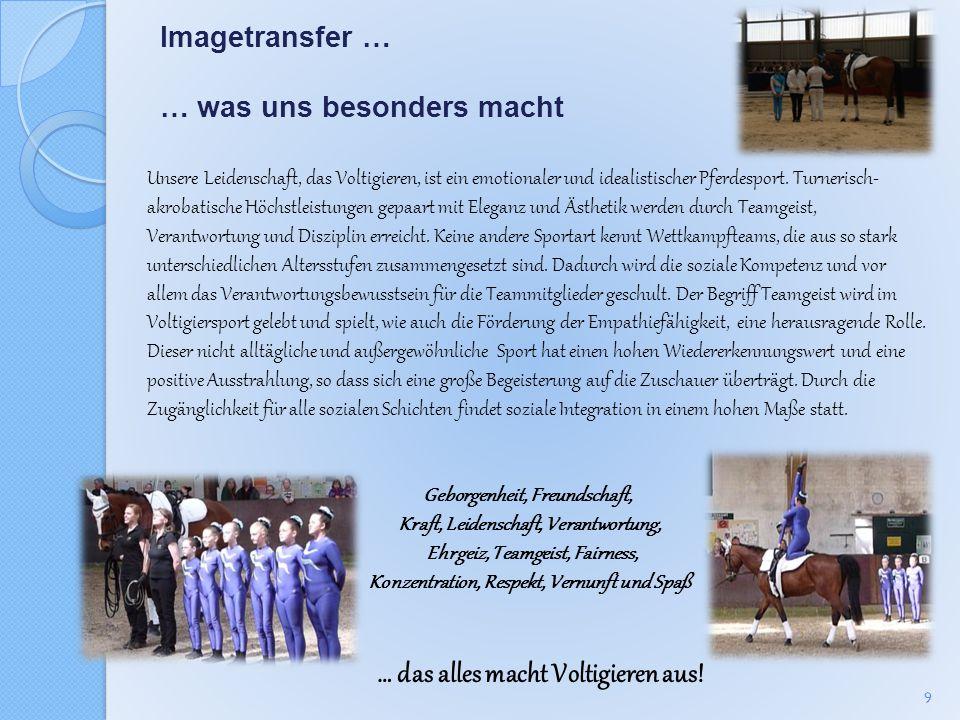 Imagetransfer … … was uns besonders macht Unsere Leidenschaft, das Voltigieren, ist ein emotionaler und idealistischer Pferdesport. Turnerisch- akroba