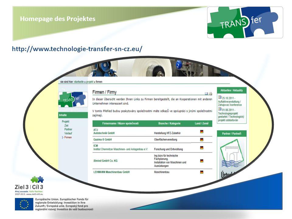 Homepage des Projektes http://www.technologie-transfer-sn-cz.eu/