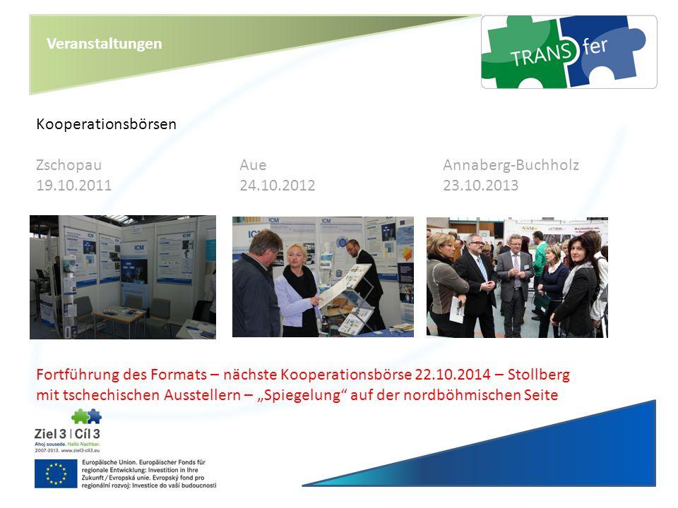 Veranstaltungen Kooperationsbörsen ZschopauAueAnnaberg-Buchholz 19.10.201124.10.201223.10.2013 Fortführung des Formats – nächste Kooperationsbörse 22.