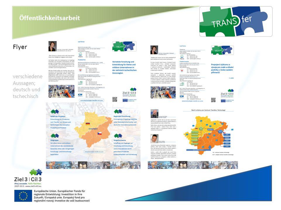Öffentlichkeitsarbeit Flyer verschiedene Aussagen; deutsch und tschechisch