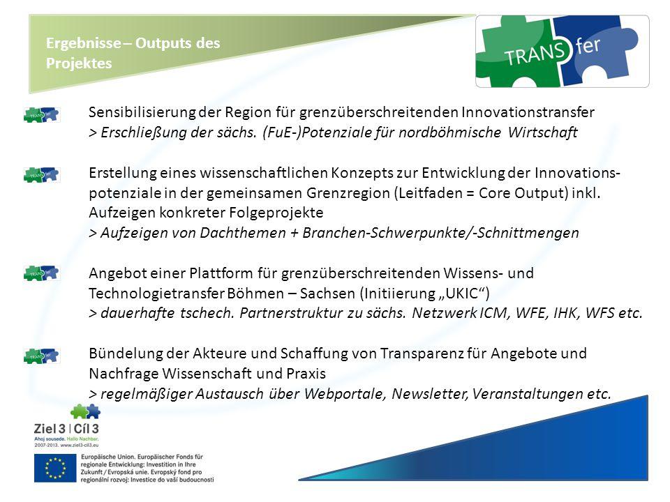 Ergebnisse – Outputs des Projektes Sensibilisierung der Region für grenzüberschreitenden Innovationstransfer > Erschließung der sächs. (FuE-)Potenzial