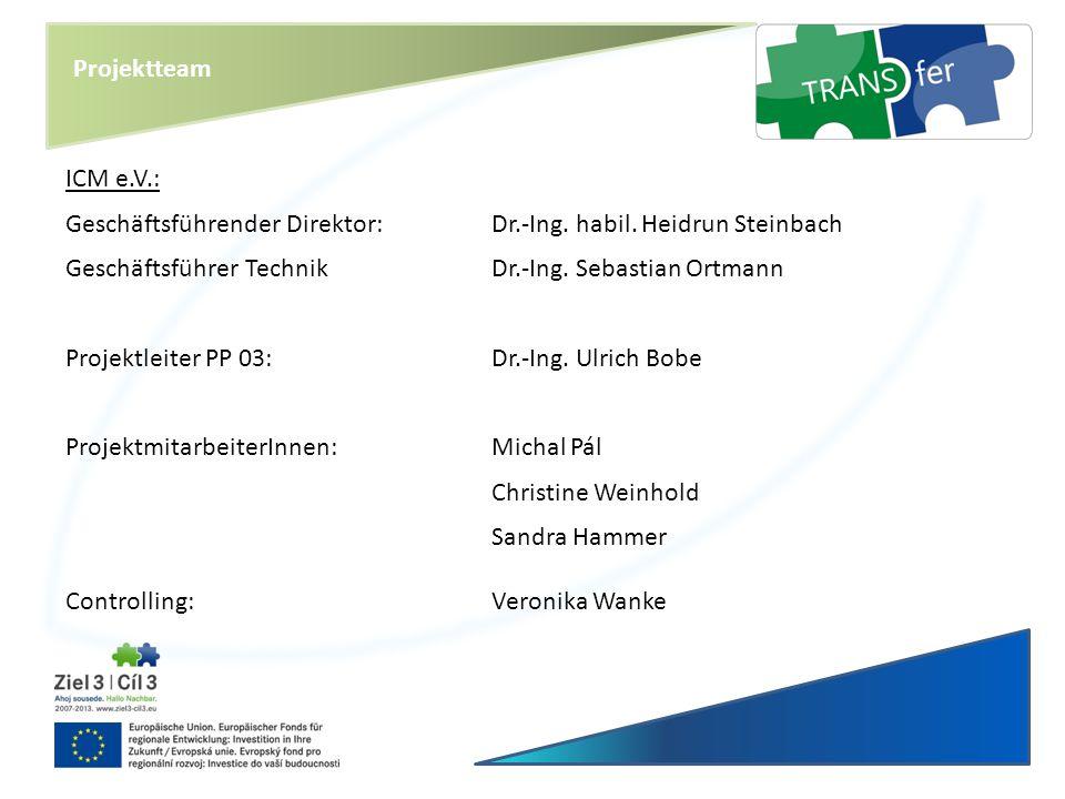 Projektteam ICM e.V.: Geschäftsführender Direktor:Dr.-Ing. habil. Heidrun Steinbach Geschäftsführer TechnikDr.-Ing. Sebastian Ortmann Projektleiter PP