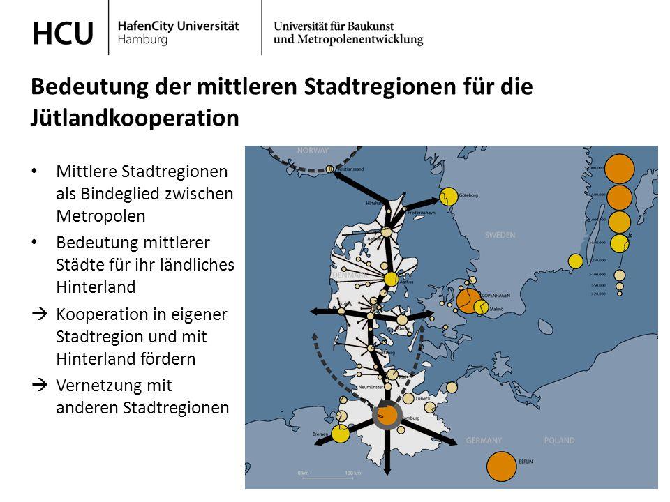 Stadtplanung im regionalen Kontext Wintersemester 2013/ 2014 Bedeutung der mittleren Stadtregionen für die Jütlandkooperation Mittlere Stadtregionen a