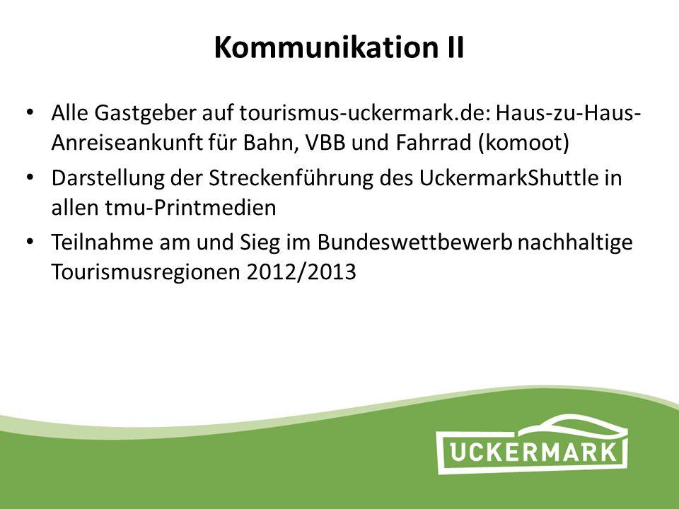Kommunikation II Alle Gastgeber auf tourismus-uckermark.de: Haus-zu-Haus- Anreiseankunft für Bahn, VBB und Fahrrad (komoot) Darstellung der Streckenfü