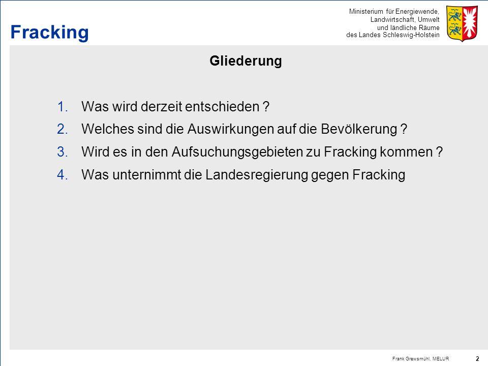 Ministerium für Energiewende, Landwirtschaft, Umwelt und ländliche Räume des Landes Schleswig-Holstein Frank Grewsmühl, MELUR 2 Fracking Gliederung 1.