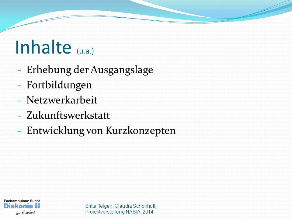 Inhalte (u.a.) - Erhebung der Ausgangslage - Fortbildungen - Netzwerkarbeit - Zukunftswerkstatt - Entwicklung von Kurzkonzepten Britta Telgen, Claudia Schonhoff, Projektvorstellung NASIA, 2014