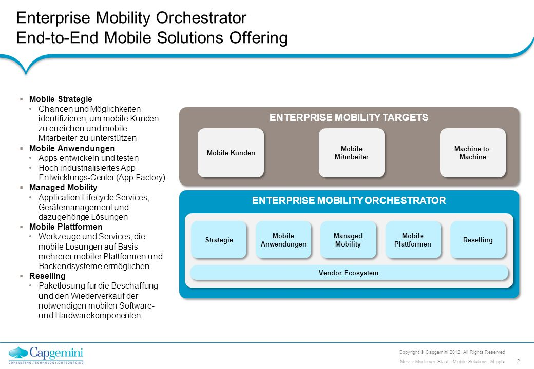 Enterprise Mobility Orchestrator End-to-End Mobile Solutions Offering ENTERPRISE MOBILITY TARGETS Mobile Kunden Mobile Mitarbeiter Machine-to- Machine