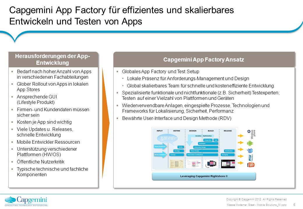 Capgemini App Factory für effizientes und skalierbares Entwickeln und Testen von Apps Capgemini App Factory Ansatz  Globales App Factory und Test Set