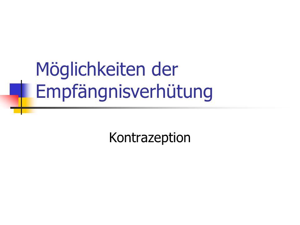 Möglichkeiten der Empfängnisverhütung Kontrazeption