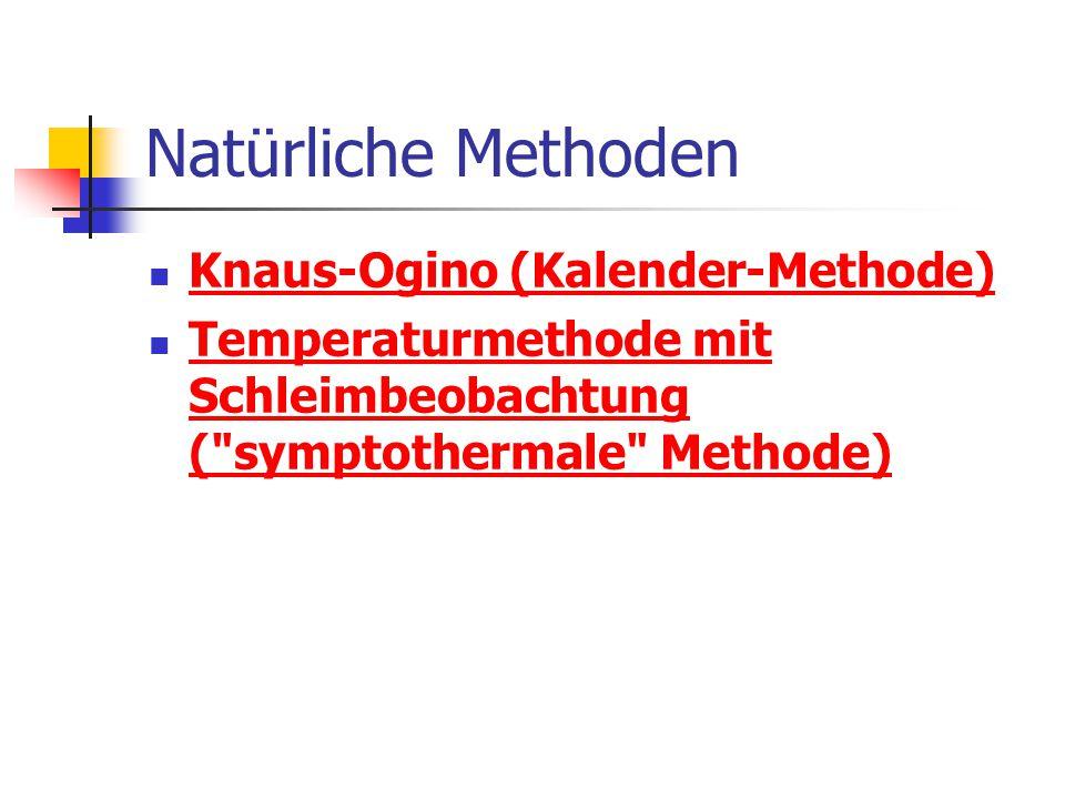 Natürliche Methoden Knaus-Ogino (Kalender-Methode) Temperaturmethode mit Schleimbeobachtung ( symptothermale Methode) Temperaturmethode mit Schleimbeobachtung ( symptothermale Methode)