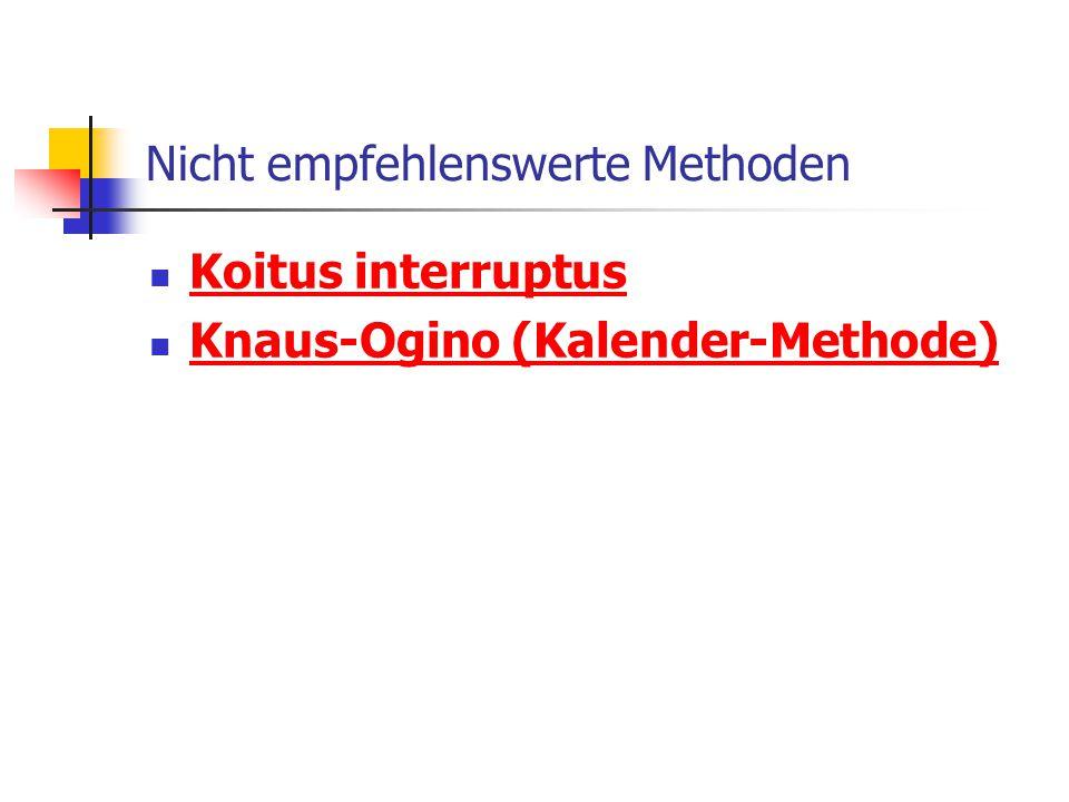 Nicht empfehlenswerte Methoden Koitus interruptus Knaus-Ogino (Kalender-Methode)