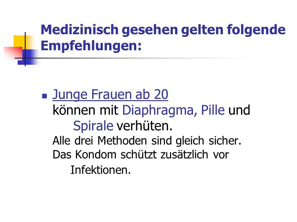 Medizinisch gesehen gelten folgende Empfehlungen: Junge Frauen ab 20 können mit Diaphragma, Pille und Spirale verhüten. Alle drei Methoden sind gleich