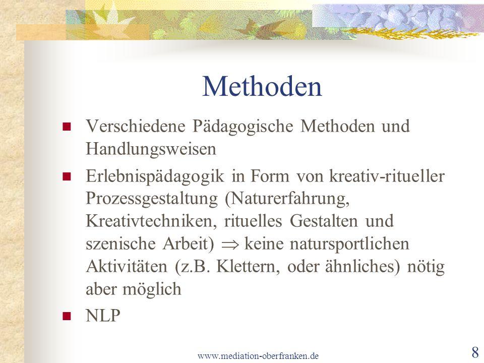 www.mediation-oberfranken.de 9 Programm In einem viertägigen Seminar in einem Selbstversorgerhaus wird die eigene Herkunft erkundet (Biographiearbeit).