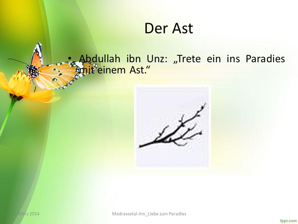 """Der Ast Abdullah ibn Unz: """"Trete ein ins Paradies mit einem Ast. März 2014Madrassatul-ilm_Liebe zum Paradies"""