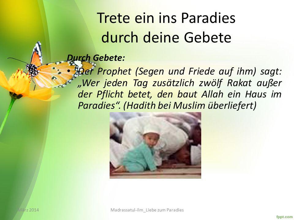 """Wege zum Schlüssel ins Paradies Durch guten Charakter: """"Wer drei Eigenschaften besitzt, den nimmt Allah in Seinen Schutz und lässt ihn ins Paradies eintreten: """"Er erbarmt sich den Schwachen, hat Fürsorge für seine Eltern und ist gütig zu seinen Untergebenen. März 2014Madrassatul-ilm_Liebe zum Paradies"""