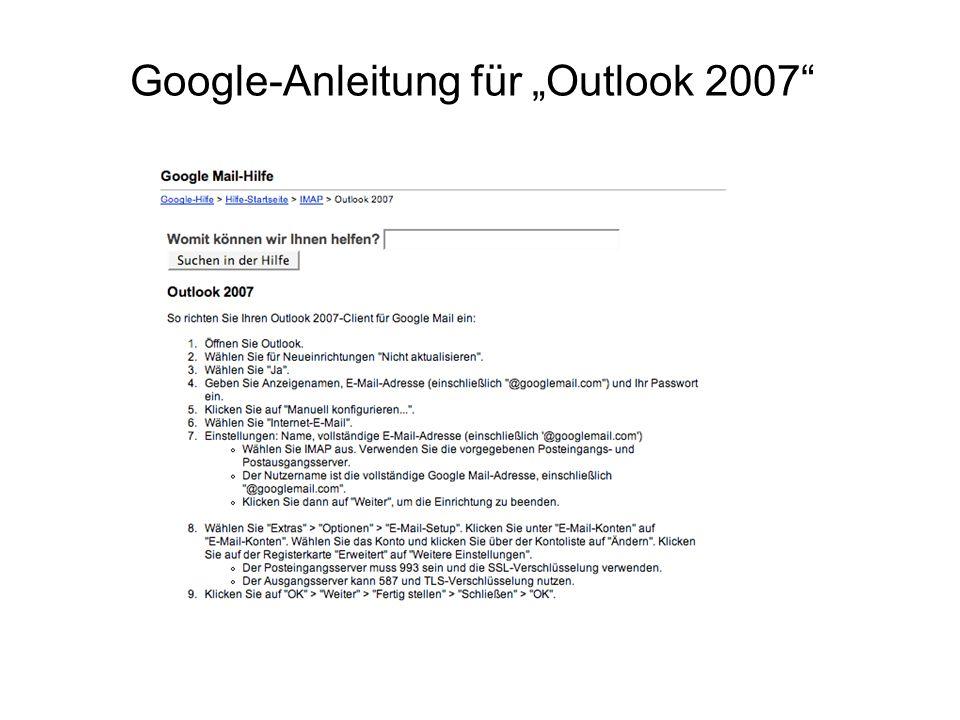 "Google-Anleitung für ""Outlook 2007"