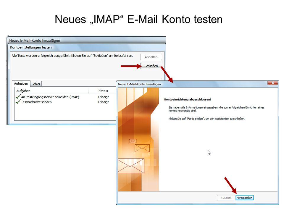 "Neues ""IMAP E-Mail Konto testen"