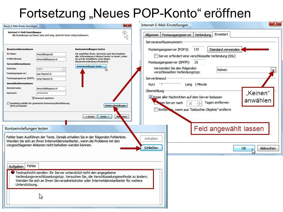 """Fortsetzung """"Neues POP-Konto eröffnen """"Keinen anwählen Feld angewählt lassen"""