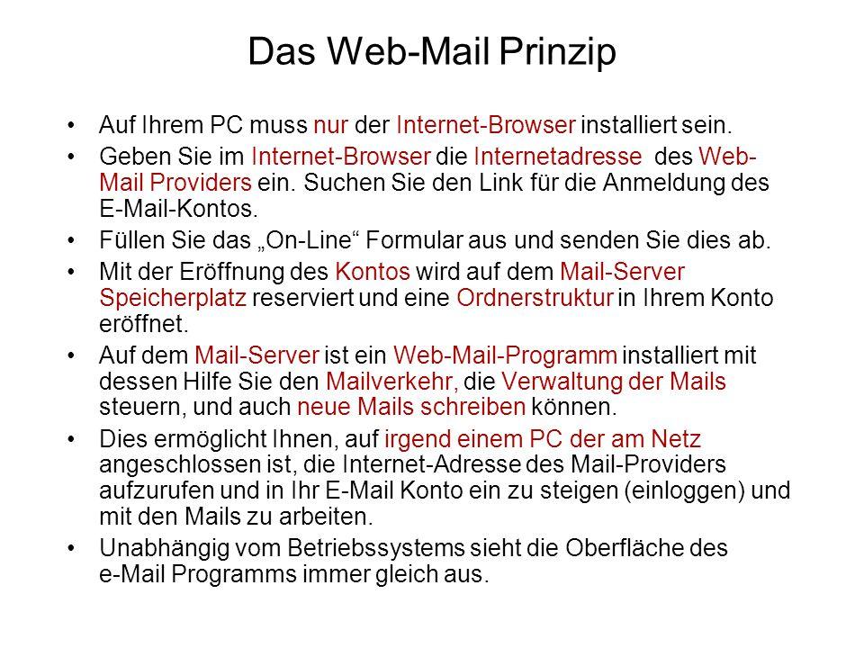 Das Web-Mail Prinzip Auf Ihrem PC muss nur der Internet-Browser installiert sein.