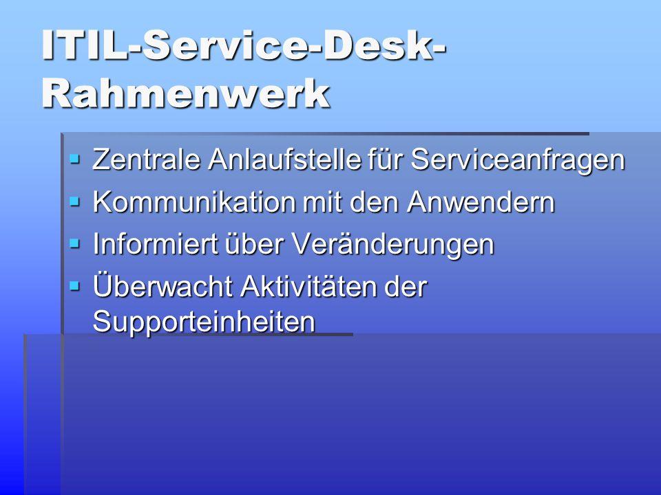 ITIL-Service-Desk- Rahmenwerk  Zentrale Anlaufstelle für Serviceanfragen  Kommunikation mit den Anwendern  Informiert über Veränderungen  Überwacht Aktivitäten der Supporteinheiten