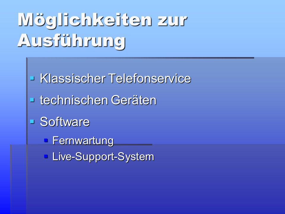 Möglichkeiten zur Ausführung  Klassischer Telefonservice  technischen Geräten  Software  Fernwartung  Live-Support-System