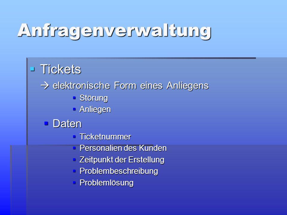 Anfragenverwaltung  Tickets  elektronische Form eines Anliegens  Störung  Anliegen  Daten  Ticketnummer  Personalien des Kunden  Zeitpunkt der Erstellung  Problembeschreibung  Problemlösung