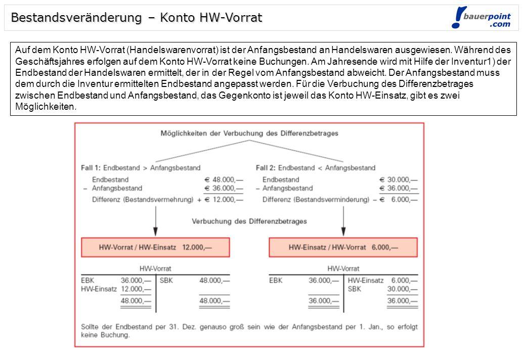 Bestandsveränderung – Konto HW-Vorrat Auf dem Konto HW-Vorrat (Handelswarenvorrat) ist der Anfangsbestand an Handelswaren ausgewiesen. Während des Ges