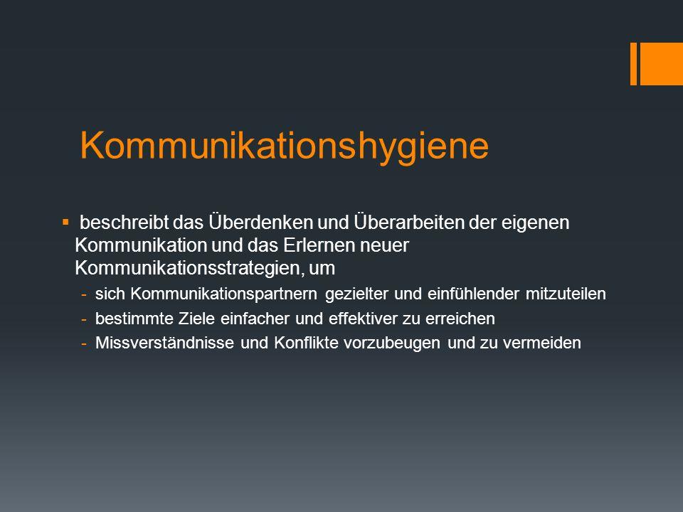 Kommunikationshygiene  beschreibt das Überdenken und Überarbeiten der eigenen Kommunikation und das Erlernen neuer Kommunikationsstrategien, um -sich