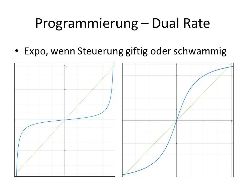 Programmierung – Dual Rate Expo, wenn Steuerung giftig oder schwammig