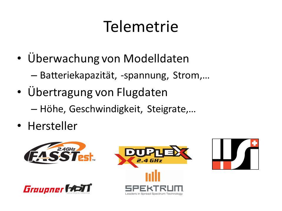 Telemetrie Überwachung von Modelldaten – Batteriekapazität, -spannung, Strom,… Übertragung von Flugdaten – Höhe, Geschwindigkeit, Steigrate,… Hersteller