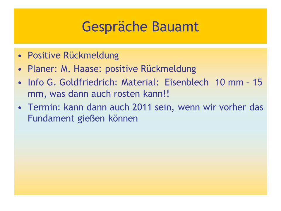 Gespräche Bauamt Positive Rückmeldung Planer: M. Haase: positive Rückmeldung Info G. Goldfriedrich: Material: Eisenblech 10 mm – 15 mm, was dann auch