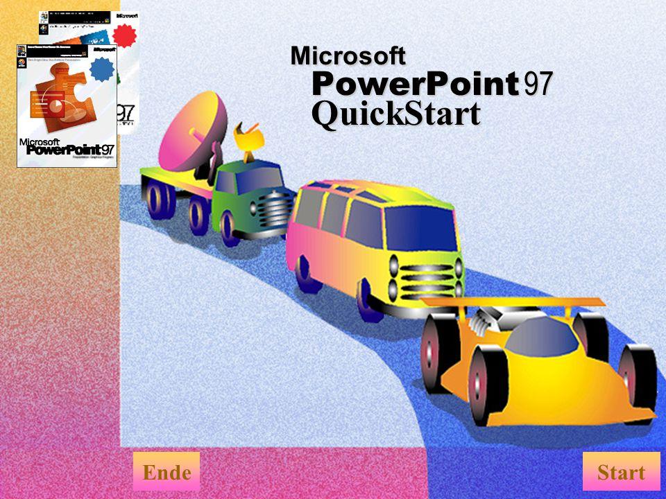 Wie Sie an QuickStart sehen, können Sie interessante Bildschirmpräsentationen mit PowerPoint erstellen, die folgendes beinhalten: u Effekte bei Folienübergängen u Animationseffekte u Spezialeffekte für Text u Interaktivität Erstellen Sie eine Bildschirmpräsentation EndeMenü