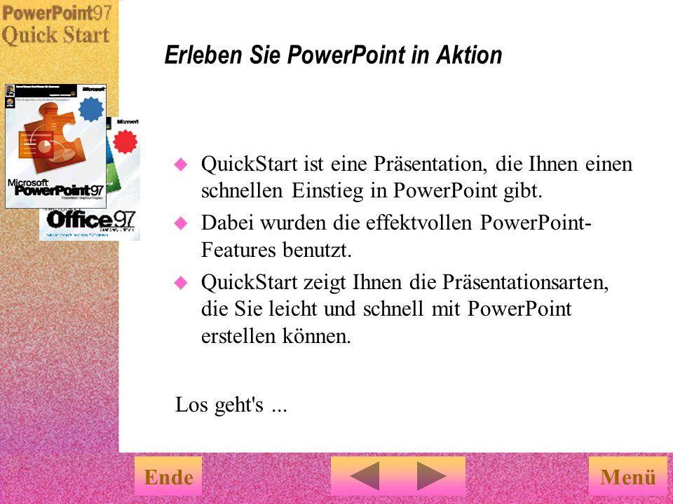 PowerPoint-Features, die es Ihnen erleichtern Bildschirmpräsentationen zu erstellen EndeFertig Sie können die speziellen Features für Bildschirm- präsentationen über das Menü Bildschirmpräsen- tation auswählen.
