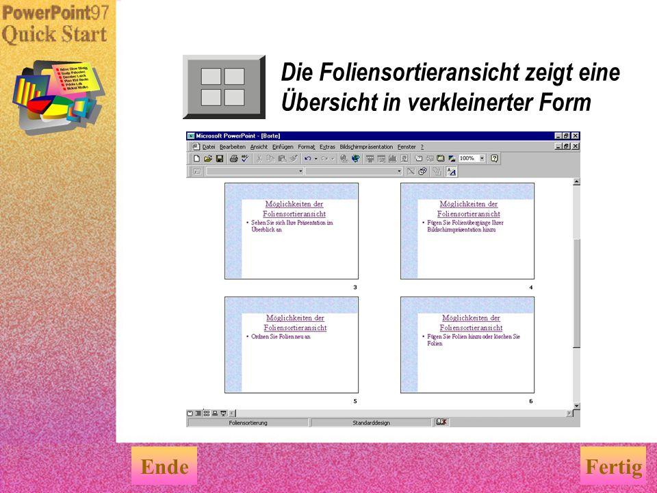 Organisieren Sie Ihre Ideen in der Gliederungsansicht EndeFertig Arbeiten in der Gliederungsansicht Organisieren Sie den Präsentationsinhalt Stellen S