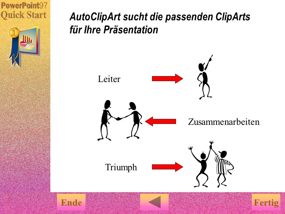 Soll Ihnen PowerPoint ClipArts, die zu Ihrem Inhalt der Folien passen, vorschlagen? Versuchen Sie doch im Menü Extra den Befehl AutoClipArt.... Ganz l