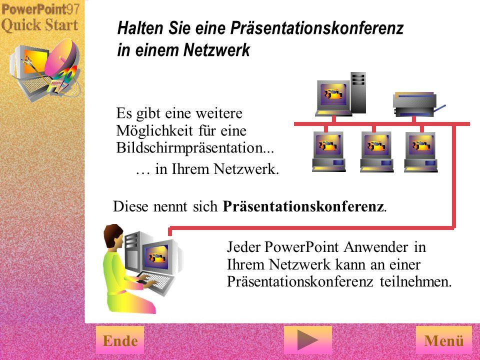 Der Assistent: u Packt Ihre Präsentation u Speichert diese auf die benötigte Anzahl von Disketten Der Pack&Go Assistent ist leicht zu benutzen EndeFer
