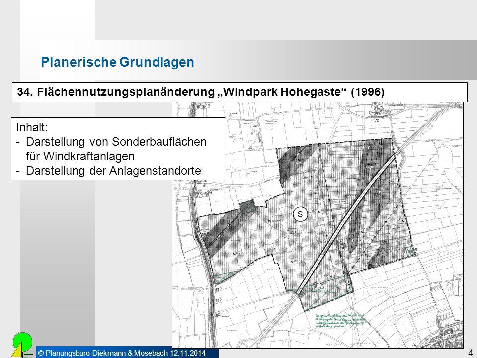 """© Planungsbüro Diekmann & Mosebach 12.11.2014 4 Planerische Grundlagen 34. Flächennutzungsplanänderung """"Windpark Hohegaste"""" (1996) Inhalt: -Darstellun"""