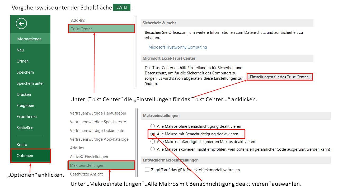 """""""Optionen anklicken. Unter """"Trust Center die """"Einstellungen für das Trust Center… anklicken."""