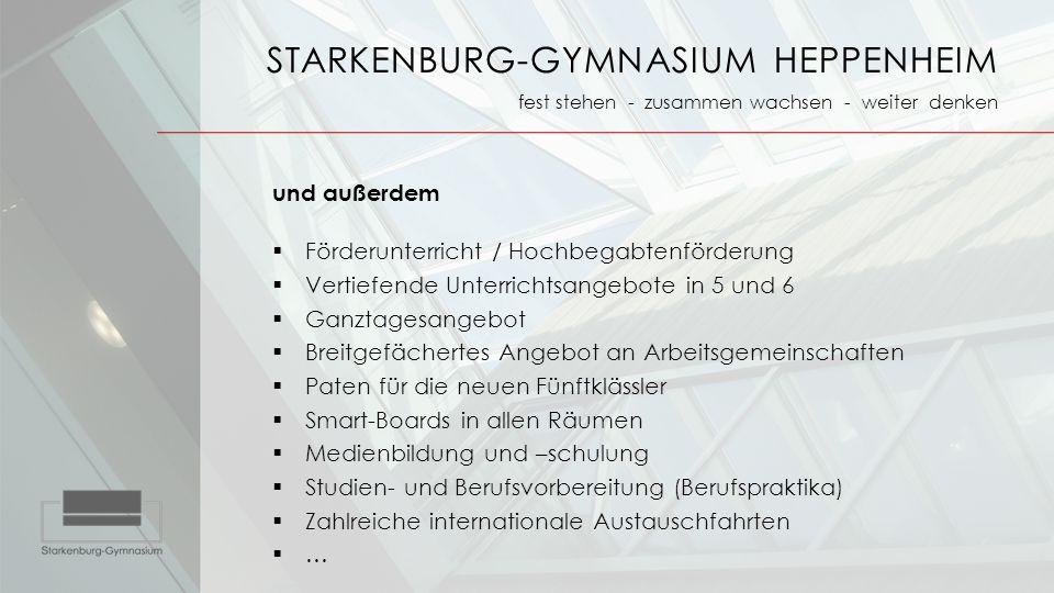 STARKENBURG-GYMNASIUM HEPPENHEIM fest stehen - zusammen wachsen - weiter denken und außerdem  Förderunterricht / Hochbegabtenförderung  Vertiefende