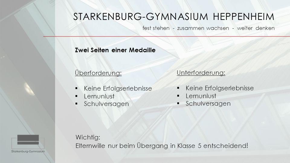 STARKENBURG-GYMNASIUM HEPPENHEIM fest stehen - zusammen wachsen - weiter denken Zwei Seiten einer Medaille Überforderung:  Keine Erfolgserlebnisse 