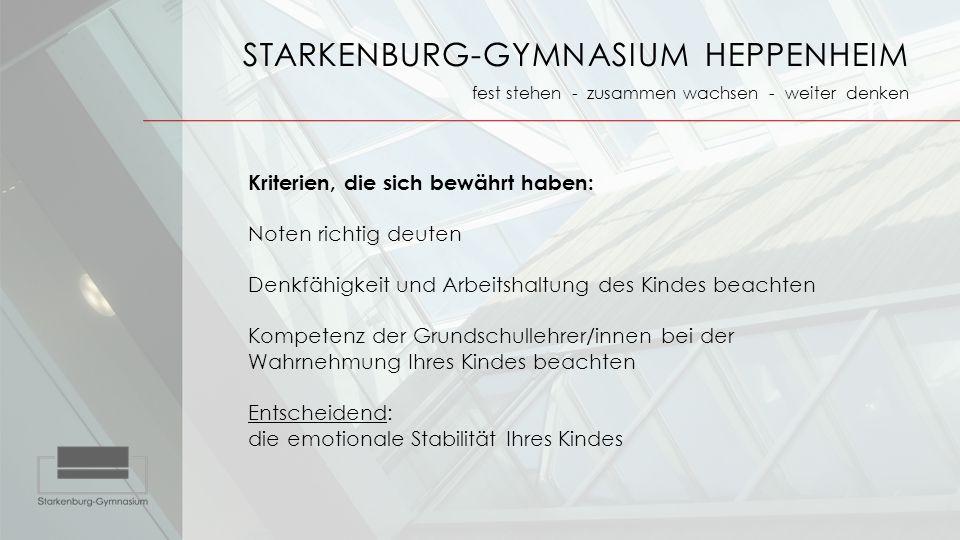 STARKENBURG-GYMNASIUM HEPPENHEIM fest stehen - zusammen wachsen - weiter denken Kriterien, die sich bewährt haben: Noten richtig deuten Denkfähigkeit