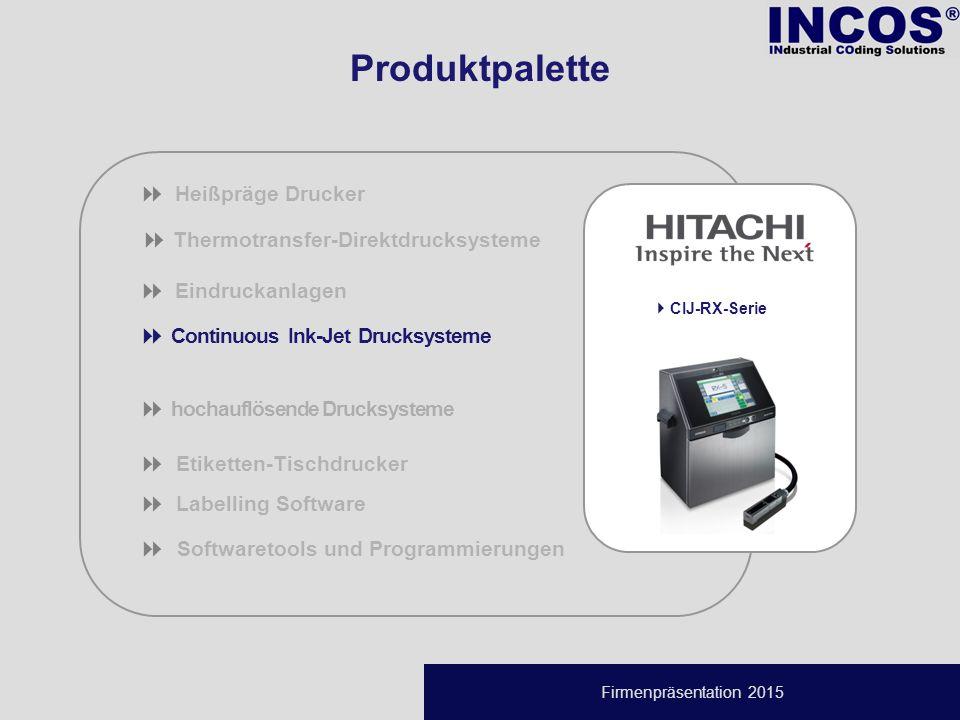 Firmenpräsentation 2015  Thermotransfer-Direktdrucksysteme  Eindruckanlagen  Continuous Ink-Jet Drucksysteme  hochauflösende Drucksysteme  Etiketten-Tischdrucker  Labelling Software   Softwaretools und Programmierungen  Heißpräge Drucker  CIJ-RX-Serie Produktpalette