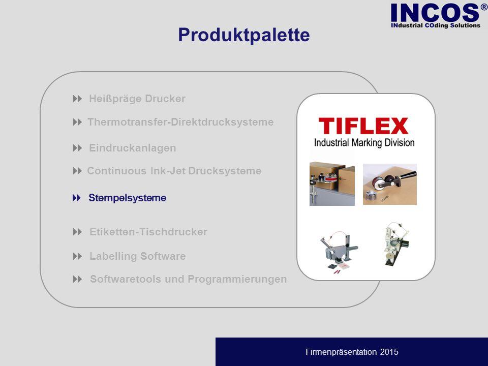 Firmenpräsentation 2015  Thermotransfer-Direktdrucksysteme  Eindruckanlagen  Continuous Ink-Jet Drucksysteme  Stempelsysteme  Etiketten-Tischdrucker  Labelling Software   Softwaretools und Programmierungen  Heißpräge Drucker Produktpalette