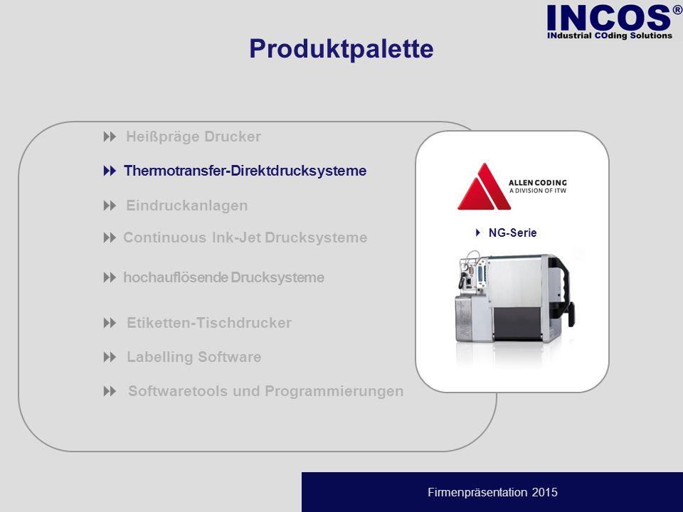 Firmenpräsentation 2015  Thermotransfer-Direktdrucksysteme  Eindruckanlagen  Continuous Ink-Jet Drucksysteme  hochauflösende Drucksysteme  Etiketten-Tischdrucker  Labelling Software  Softwaretools und Programmierungen  Heißpräge Drucker  NG-Serie Produktpalette
