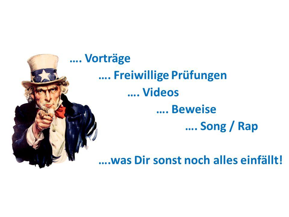 …. Vorträge …. Freiwillige Prüfungen …. Videos …. Beweise …. Song / Rap ….was Dir sonst noch alles einfällt!