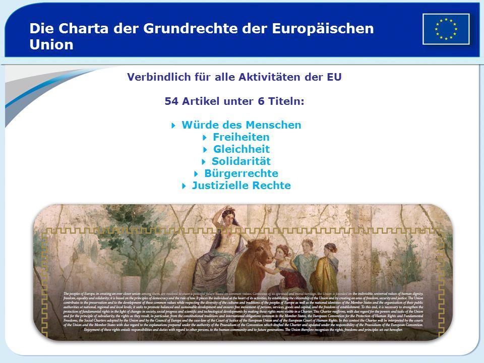 Verbindlich für alle Aktivitäten der EU 54 Artikel unter 6 Titeln:  Würde des Menschen  Freiheiten  Gleichheit  Solidarität  Bürgerrechte  Justi